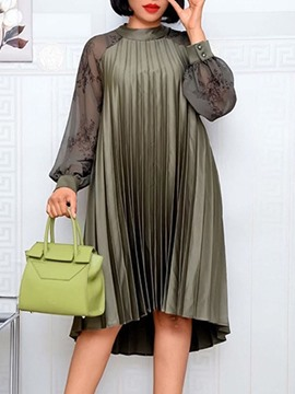 Ericdress Stand Collar Pleated Long Sleeve Pullover Fall Dress