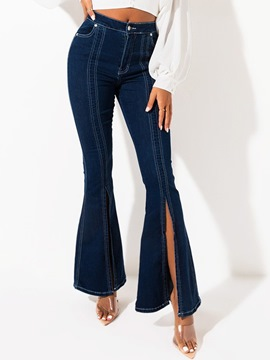 jean ericdress bellbottoms uni fendu slim zippé