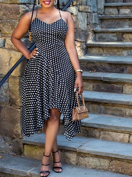 Ericdress Mid-Calf Sleeveless Asymmetric Date Night/Going Out Polka Dots Dress