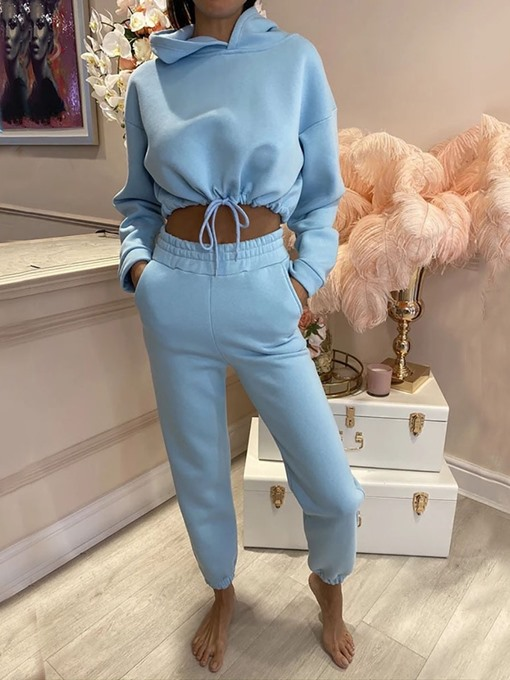 Ericdress Polyester Solid Thermal Full Length Long Sleeve Clothing Sets