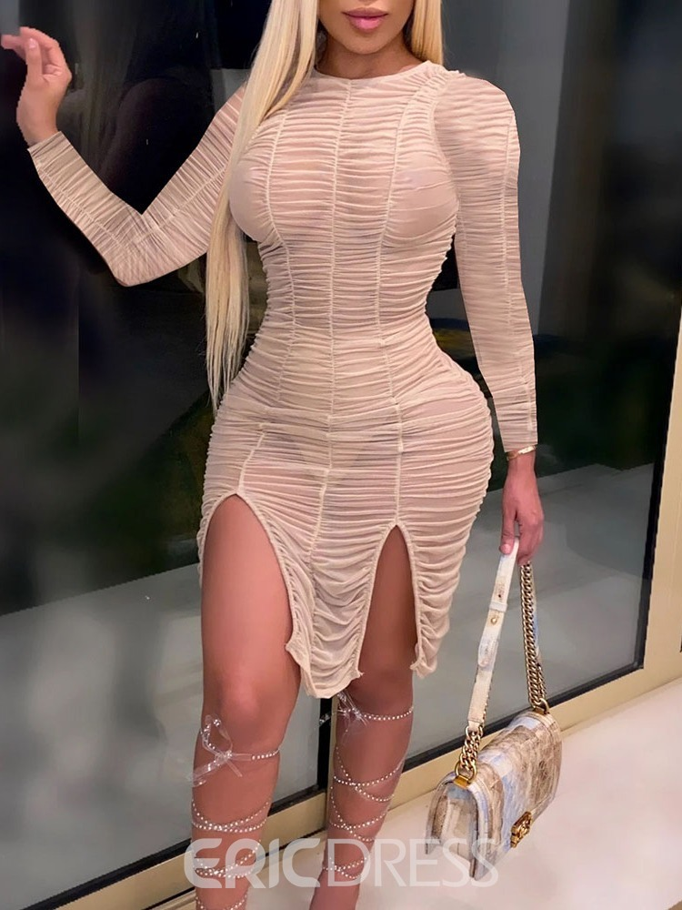 Ericdress Long Sleeve Above Knee Split Date Night/Going Out Bodycon Dress