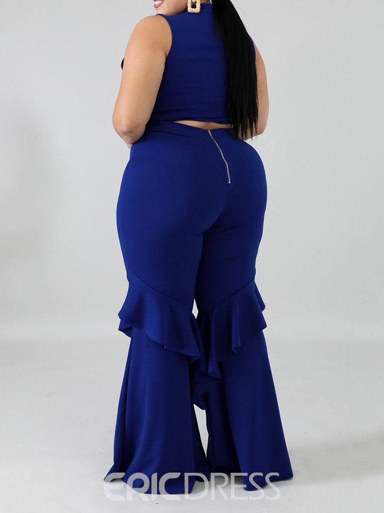 Ericdress Falbala Pants Office Lady Bellbottoms Stand Collar Two Piece Sets