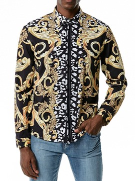 Ericdress Floral Print Lapel Fall Single-Breasted Men's Slim Shirt