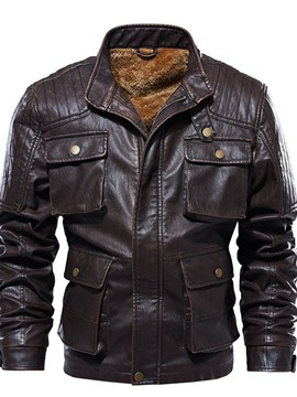Ericdress Stand Collar Plain Standard Winter European Leather Jacket