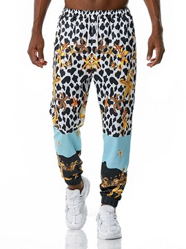Ericdress Leopard Print Mid Waist Lace-Up Casual Pants