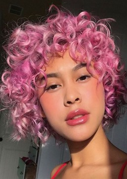 Ericdress Women's Pink Color Short Curly Synthetic Hair Capless WIgs 10Inch