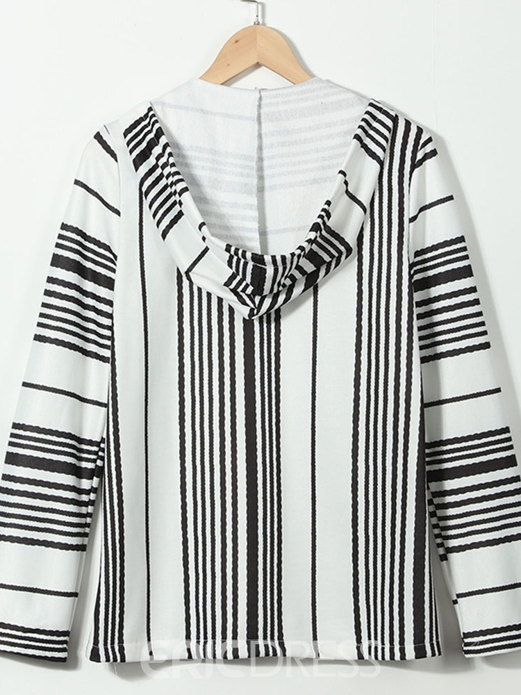 Ericdress Pullover Stripe Pocket Pullover Fall Hoodies