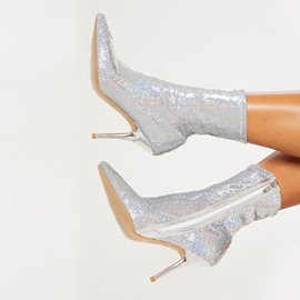 Ericdress Plain Stiletto Heel Pointed Toe Sequin Boots