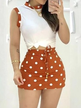 Ericdress Simple T-Shirt Lace-Up Pullover Bodycon Two Piece Sets