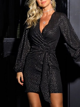 Ericdress Long Sleeve V-Neck Print Winter Date Night/Going Out Dress