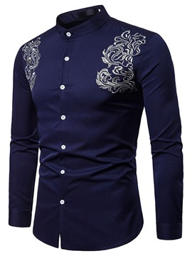 Ericdress Stand Collar Embroidery Casual Slim Single-Breasted Shirt