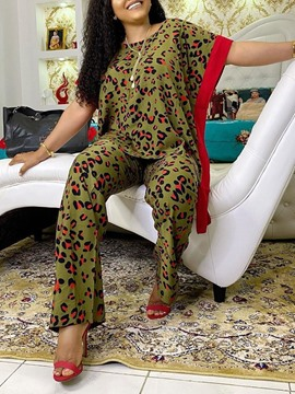 Ericdress Print Leopard Casual Straight Pullover Two Piece Sets