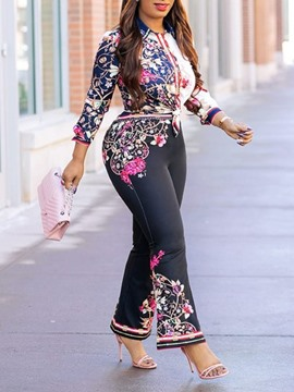 Ericdress Office Lady Print Floral Bellbottoms Single-Breasted Two Piece Sets
