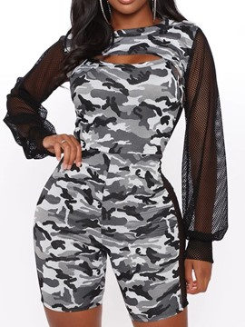 Ericdress Fashion Camouflage Shorts Pencil Pants Skinny Jumpsuit