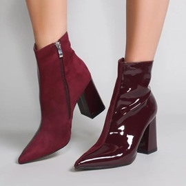 Ericdress Side Zipper Patchwork Chunky Heel Casual Boots