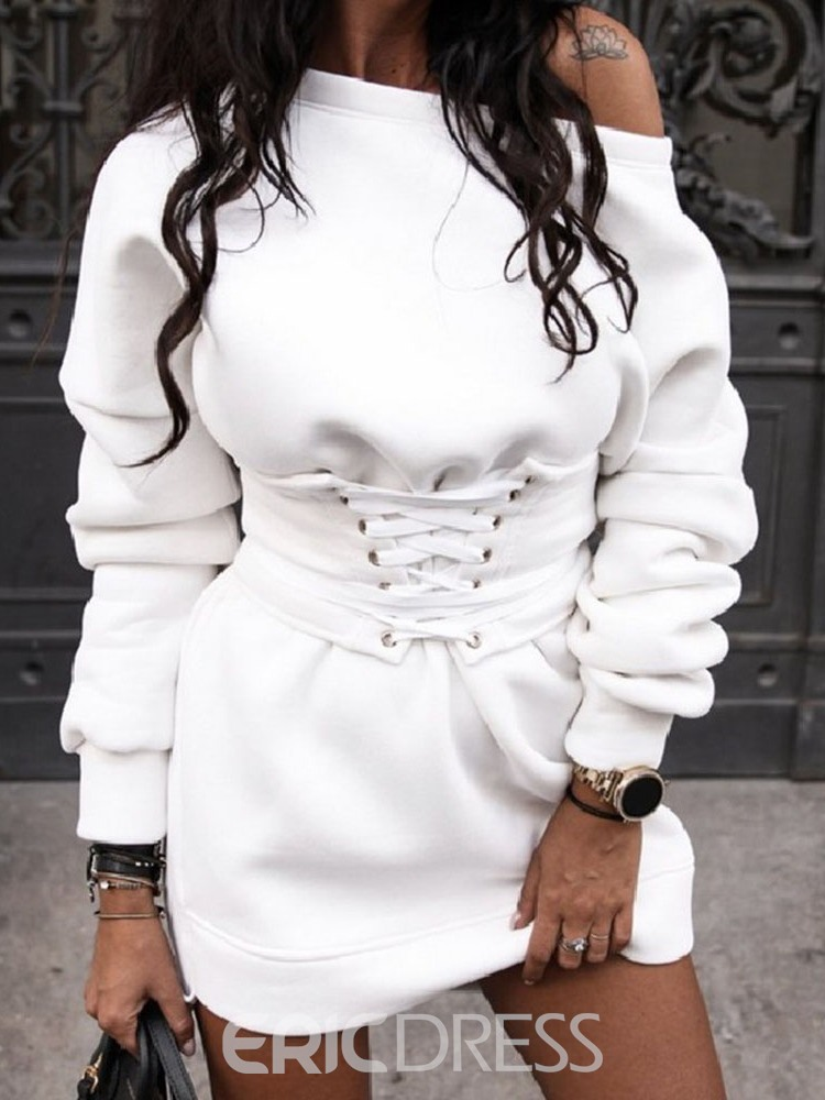 Ericdress Asymmetric Round Neck Above Knee Pullover Date Night/Going Out Dress
