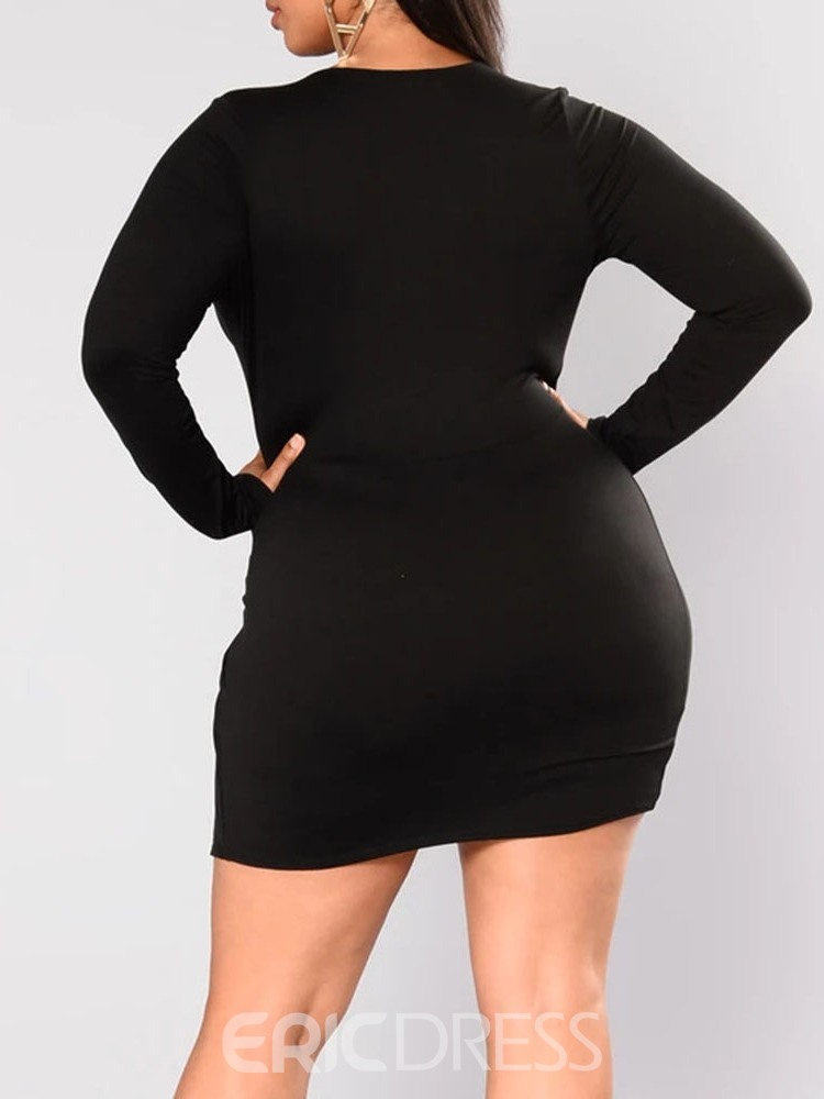 Ericdress Long Sleeve Asymmetric V-Neck Bodycon Fall Dress