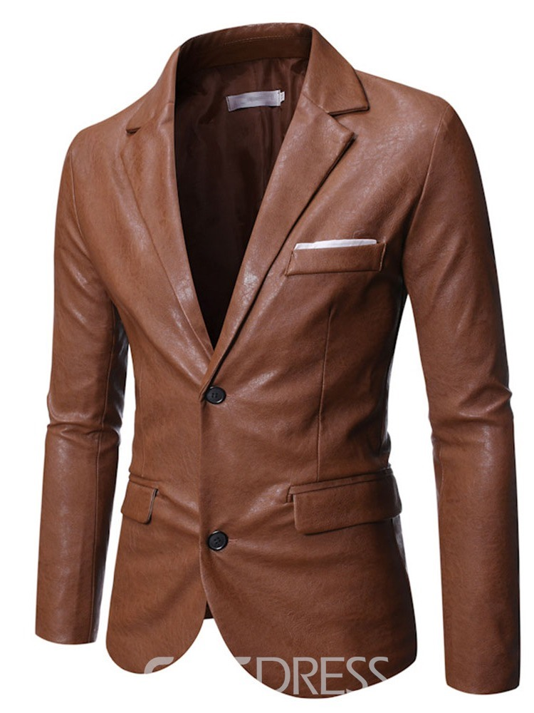 Ericdress Notched Lapel Standard Plain Slim Single-Breasted Leather Jacket