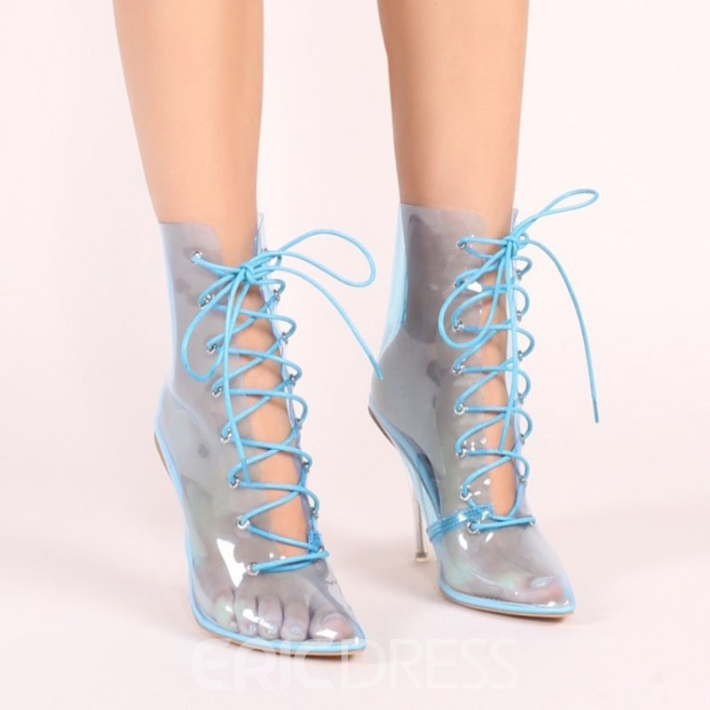 Ericdress Pointed Toe Lace-Up Front Plain Casual Boots