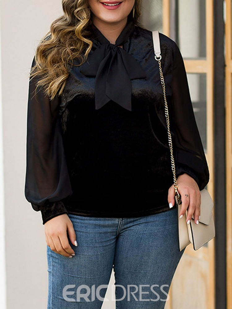 Ericdress Plus Size Patchwork Regular Plain Standard Long Sleeve Blouse