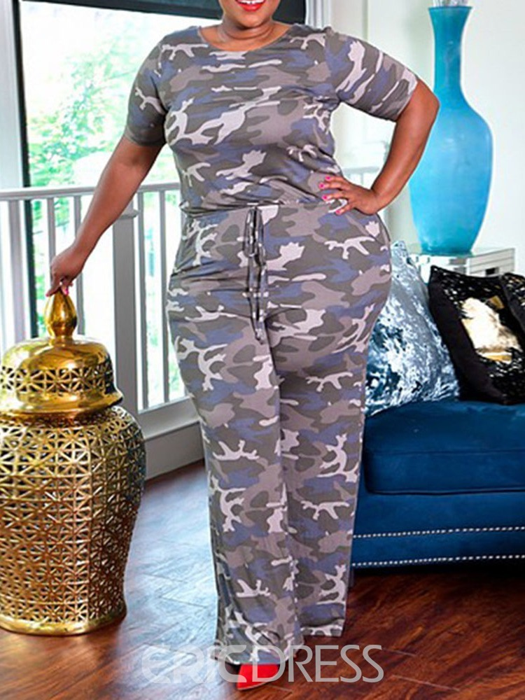 Ericdress Plus Size Print Full Length Camouflage Slim Wide Legs Jumpsuit