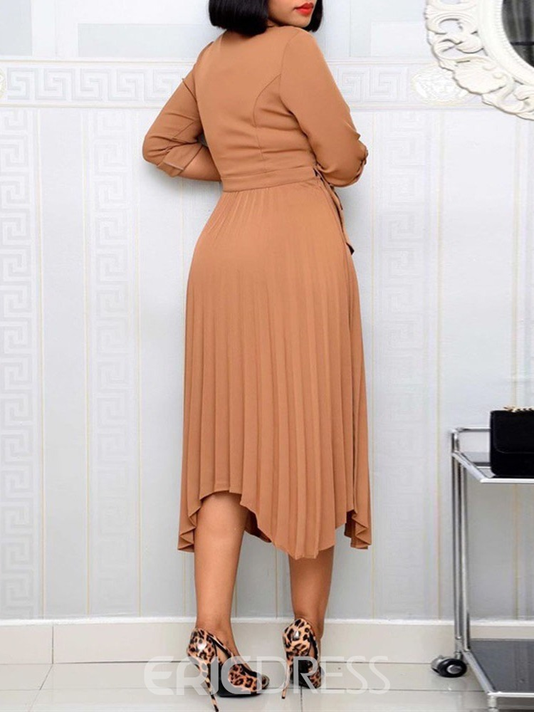 Ericdress Long Sleeve Asymmetric Mid-Calf Pullover Regular Dress