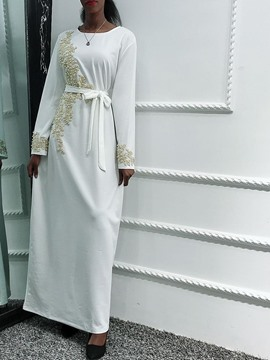 Ericdress Long Sleeve Floor-Length Round Neck Vintage A-Line Dress