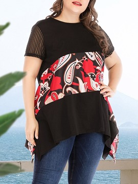 ericdress kurzarm blumig mittellang locker plus size t-shirt