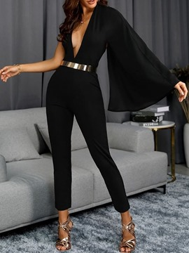 Ericdress Asymmetric Ankle Length Office Lady Slim Mid Waist Jumpsuit