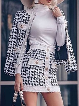 Ericdress Jacket Fashion Button Bodycon Zipper Two Piece Sets