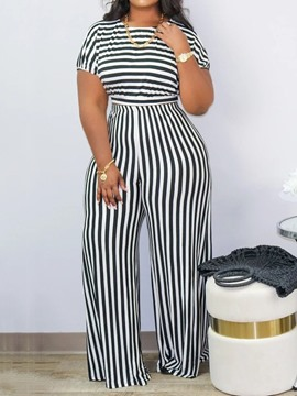 Ericdress T-Shirt Casual Stripe Pullover Two Piece Sets