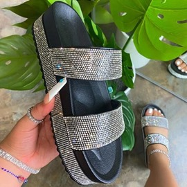 Ericdress Flat With Slip-On Rhinestone PVC Slippers