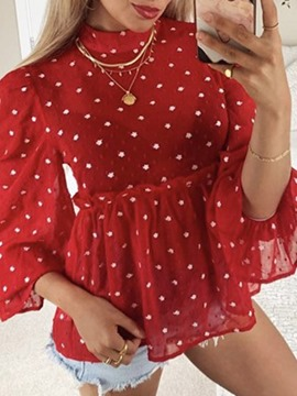 Ericdress Falbala Stand Collar Polka Dots Standard Long Sleeve Blouse