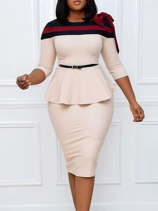 Ericdress Bowknot Round Neck Three-Quarter Sleeve Bodycon High Waist Dress