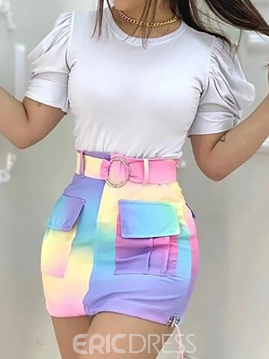 Ericdress Pocket Color Block Skirt Bodycon Pullover Two Piece Sets