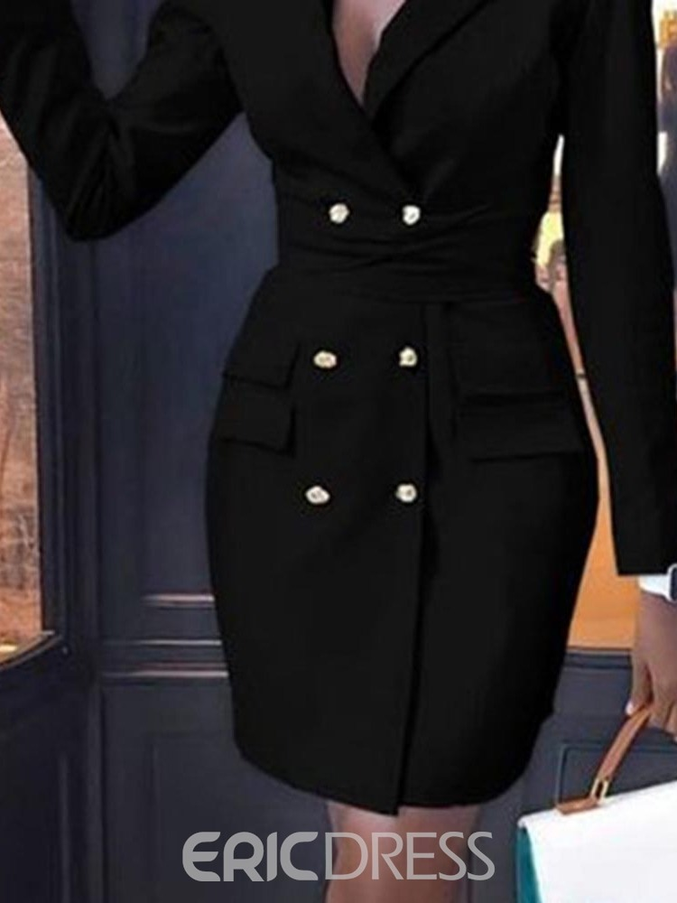 Ericdress Above Knee Long Sleeve Notched Lapel Double-Breasted Regular Dress