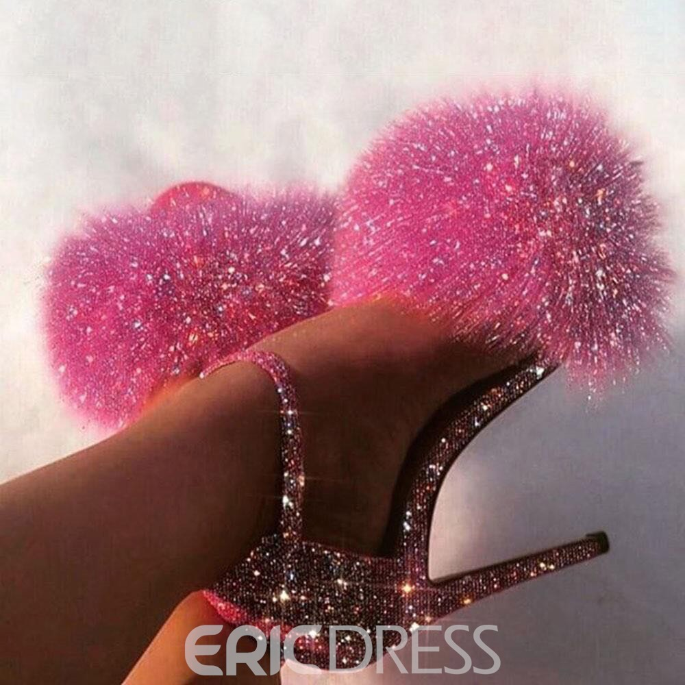 Ericdress Stiletto Heel Feather Peep Toe Western Thin Shoes