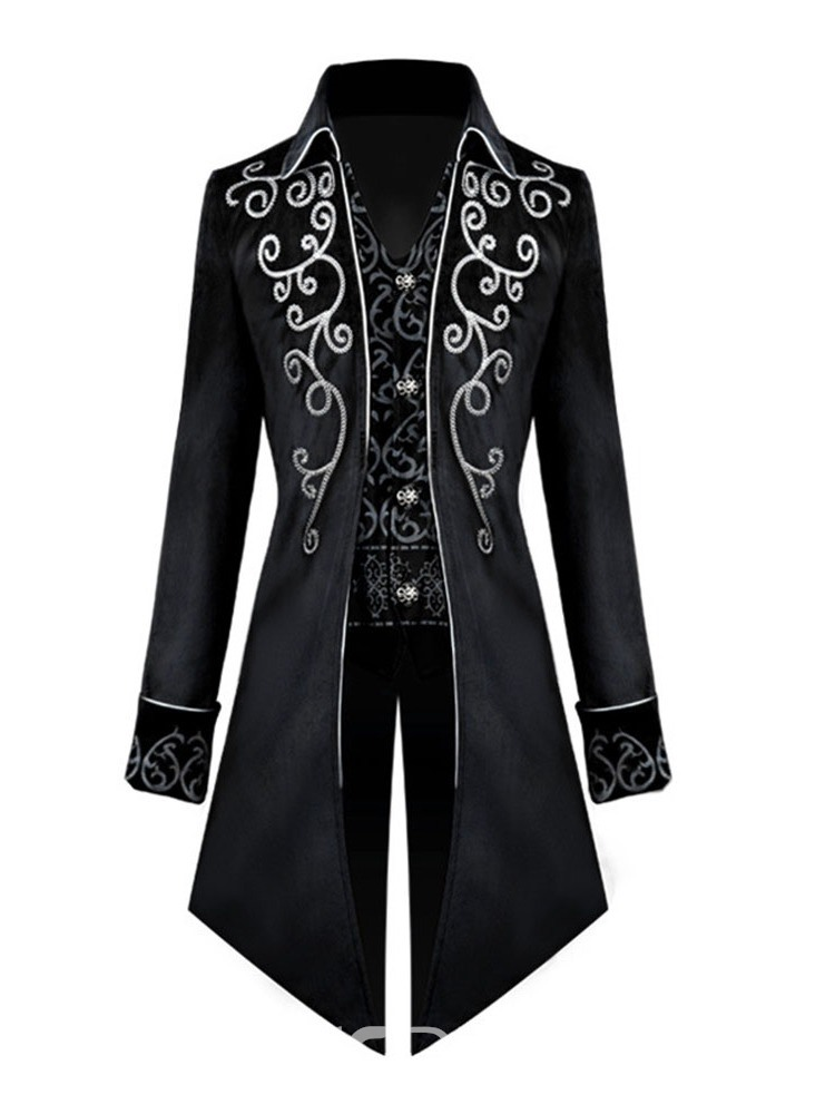 Ericdress Patchwork Lapel Long Single-Breasted Slim Coat