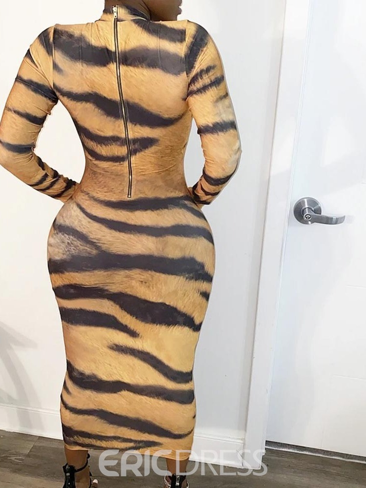 ericdress mi-mollet col montant manches longues robe fourreau sexy