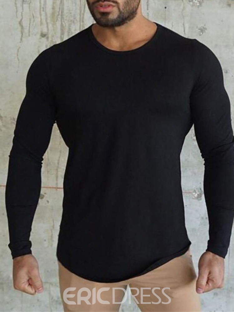 Ericdress Round Neck Plain Casual Pullover Slim T-shirt