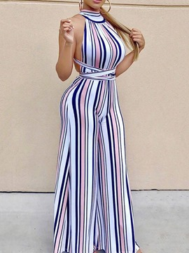 Ericdress Sexy Full Length Backless Wide Legs Slim Jumpsuit