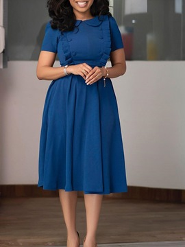 Ericdress Button Short Sleeve Peter Pan Collar Expansion Plain Dress Blue Dress
