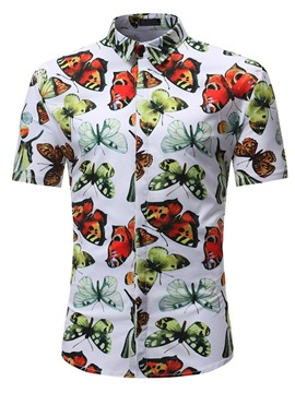 Ericdress Animal Lapel Print Slim Summer Shirt