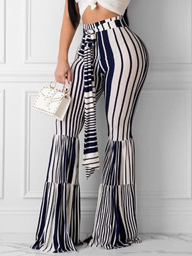 Ericdress Stripe Lace-Up Slim Full Length Bellbottoms Casual Pants