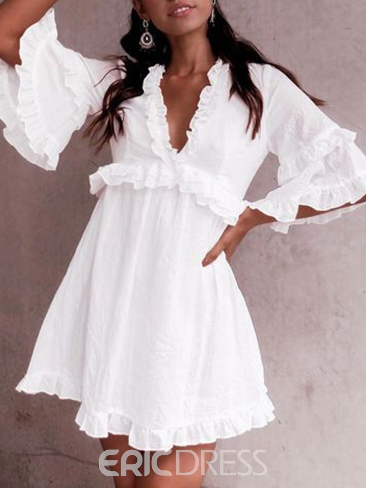 Ericdress Three-Quarter Sleeve V-Neck Stringy Selvedge Pullover Sweet Dress
