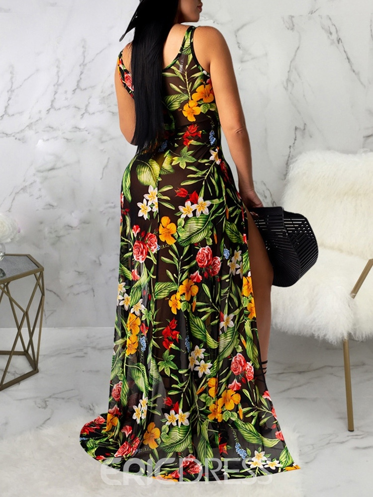 Ericdress Sleeveless Split Floor-Length A-Line Mid Waist Dress
