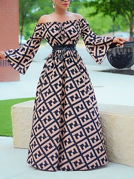 Ericdress Floor-Length Long Sleeve Print A-Line Flare Sleeve Dress