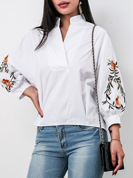 Ericdress Embroidery Lantern Sleeve Floral Mid-Length Nine Points Sleeve Blouse