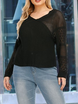 Ericdress Plus Size Thin Patchwork V-Neck Standard Sweater