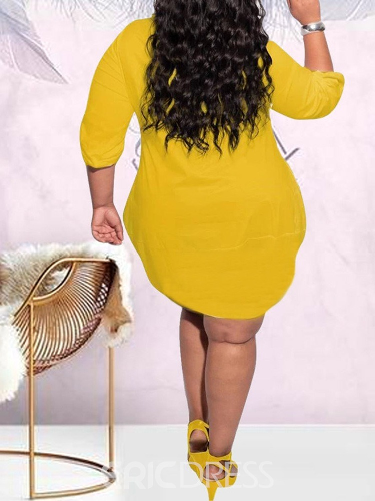 Ericdress Plus Size Above Knee Round Neck Long Sleeve Plain Casual Dress